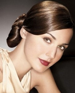 2014 Elegant sleek straight updo hairstyle