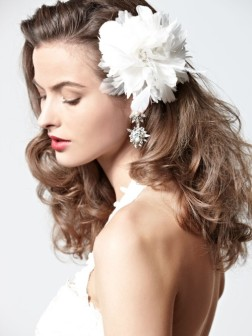 bridal hairstyle and hair accessory