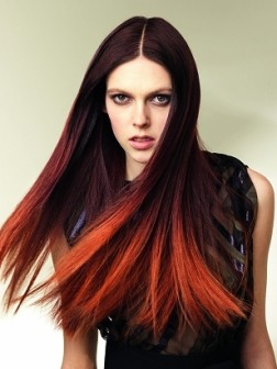 dip dyed red hair