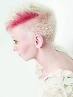 icy blonde and pink