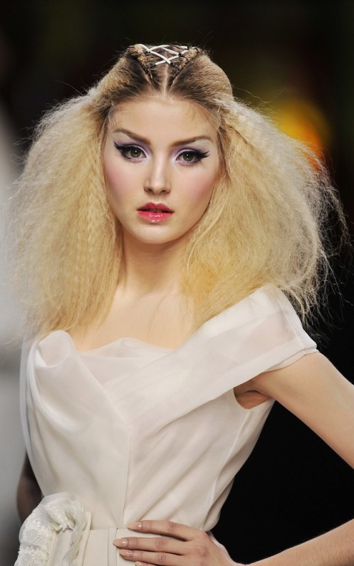 crimped half updo hairstyle 2016