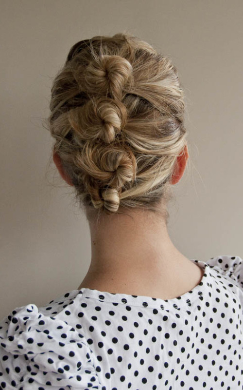 Four-knot French twist hairstyle 2016