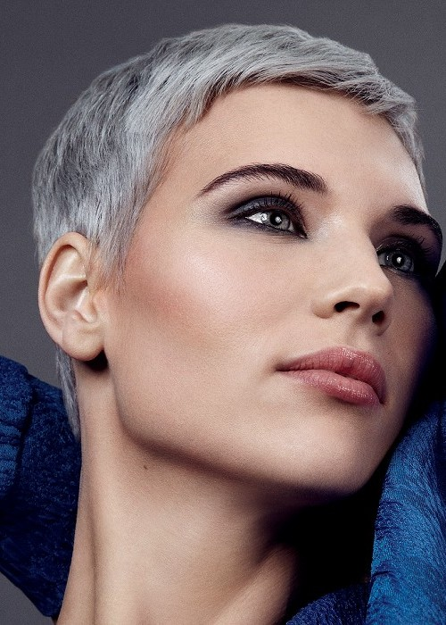 boyish pixie in grey hair color 2016