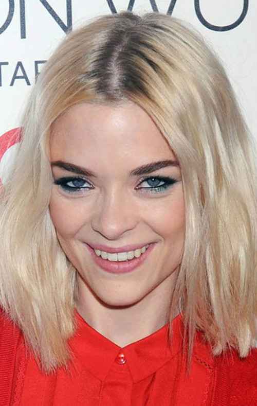 center parted medium lob hairstyle 2016