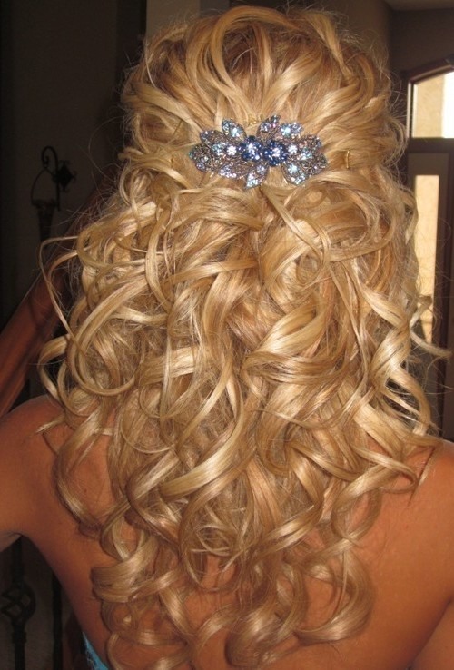 curly half updo hairstyle 2016