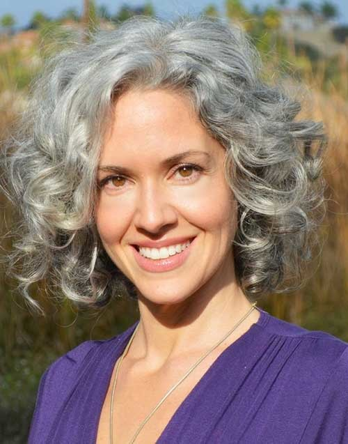 grey bob curly hairstyle 2016