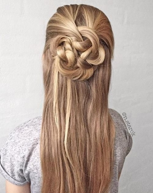 knotted half updo hairstyle 2016