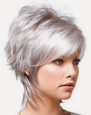 layered short light grey hairstyle 2016