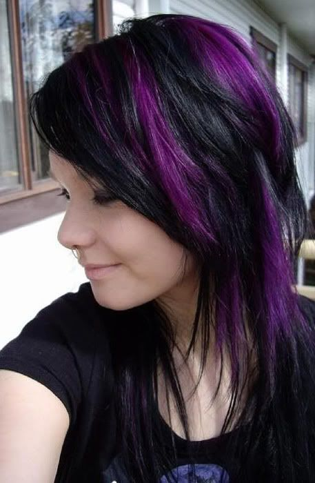 purple highlights for black hair 2016