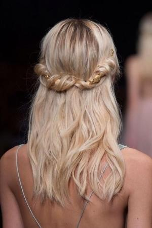 twisted half updo hairstyle 2016