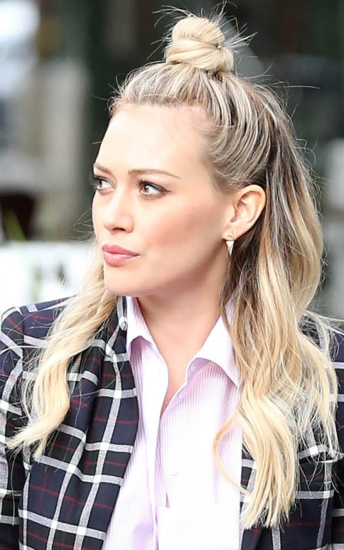 Hilary Duff half bun hairstyle 2016