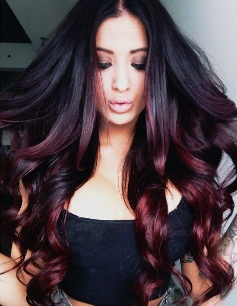 burgundy highlights in black hair 2016