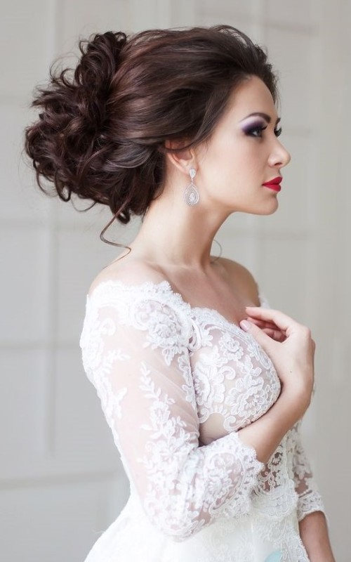 messy loose updo for wedding 2016