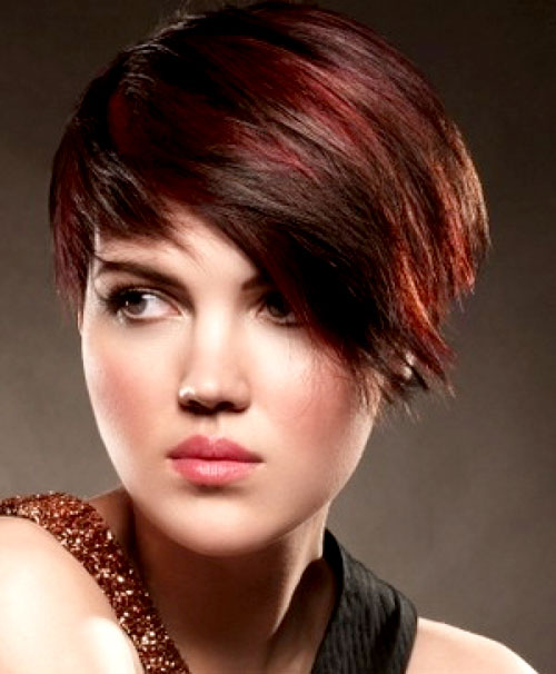Those Who Have Short Haircuts Can Soften Them With Red Highlights On Dark Brown Hair 2016