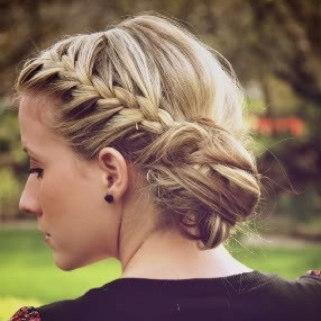 Image result for Low Side Braided Hairdo with Messy Finish