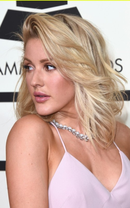Ellie Goulding Soft Side Parted Lob Hairstyle