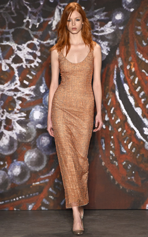 Jenny Packham copper red hairstyle 2016