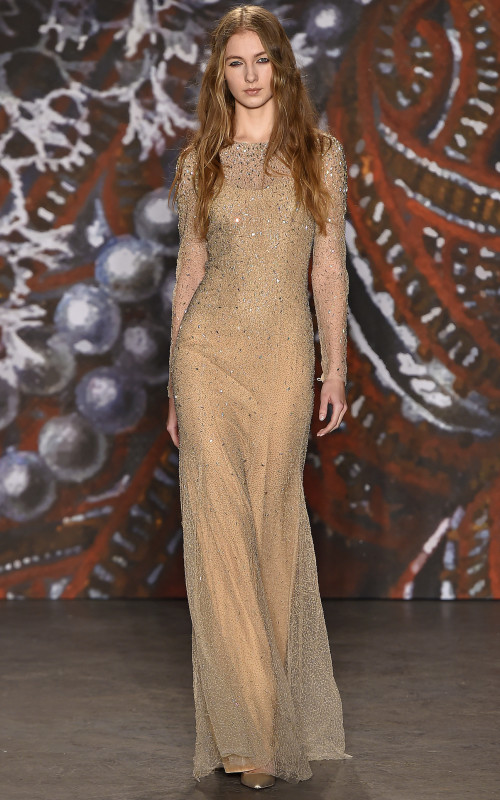 Jenny Packham long layered waves with highlights 2016