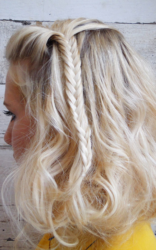 short hair with fishtail braid 2016