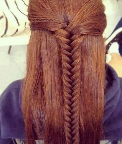 fishtail casual half up half down hairstyle