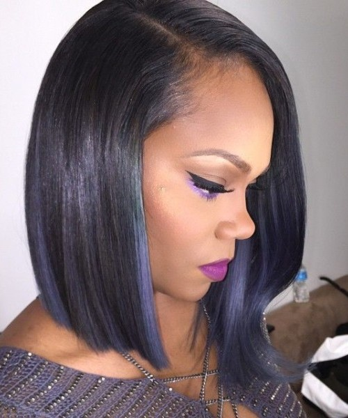 Angled bob hairstyle for afro American women