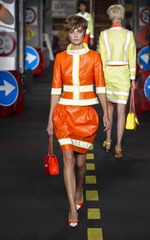 Moschino model with short haircut 2016