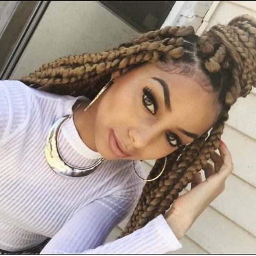 blonde box braids for females 2016
