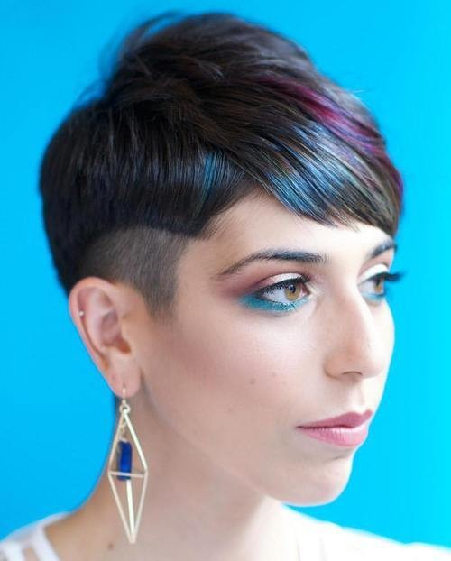 colored bangs pixie haircut for ladies for 2016