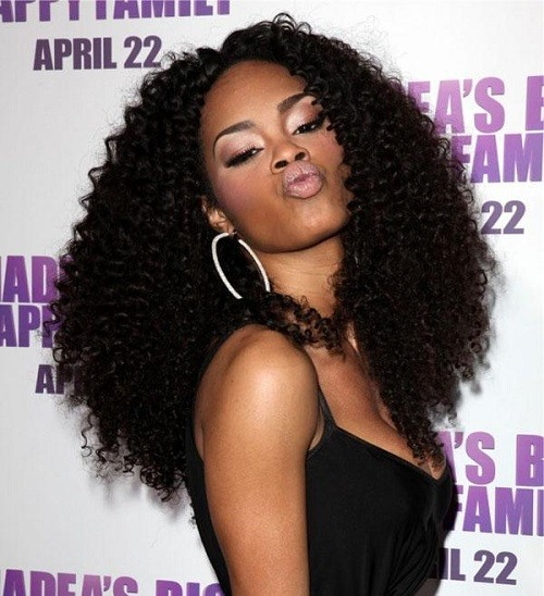 long afro american curly hairstyle
