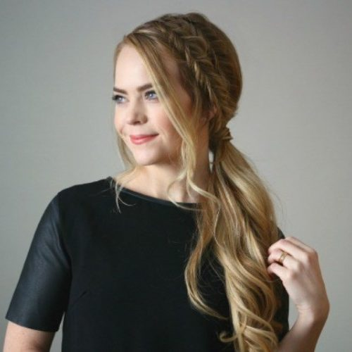 Messy Ponytail with Side Fishtail Braid