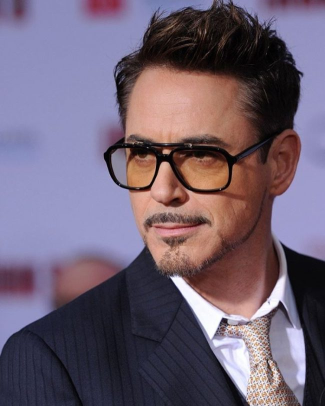 Robert Downey Spiky Hairstyle with Chestnut Hue