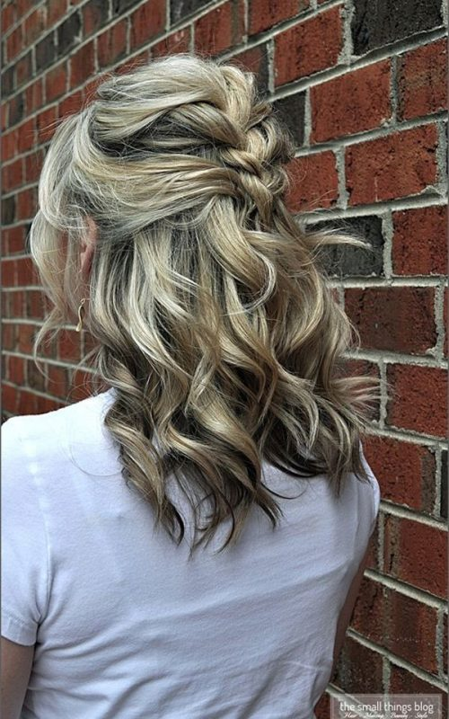 braided updo for medium length hair 2016