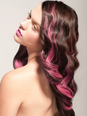 brown hair with pink hair highlights