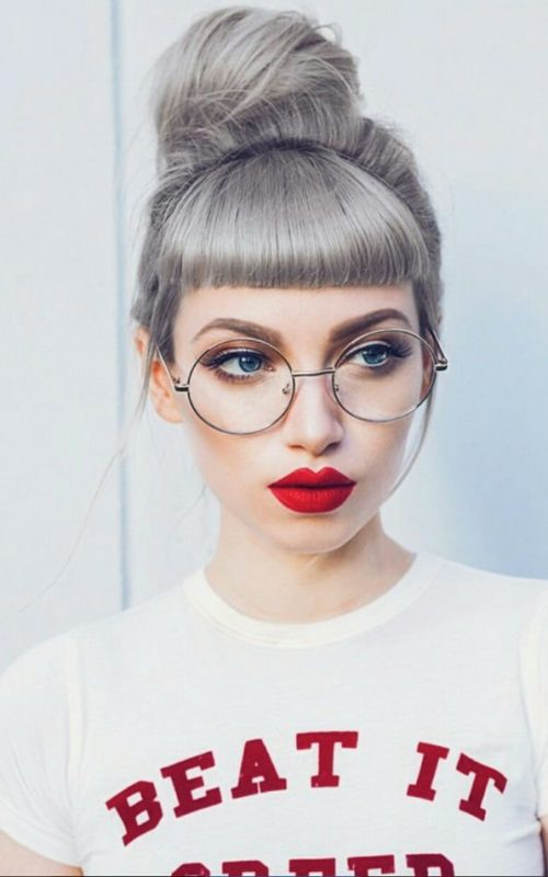 grey updo for girls with short bangs