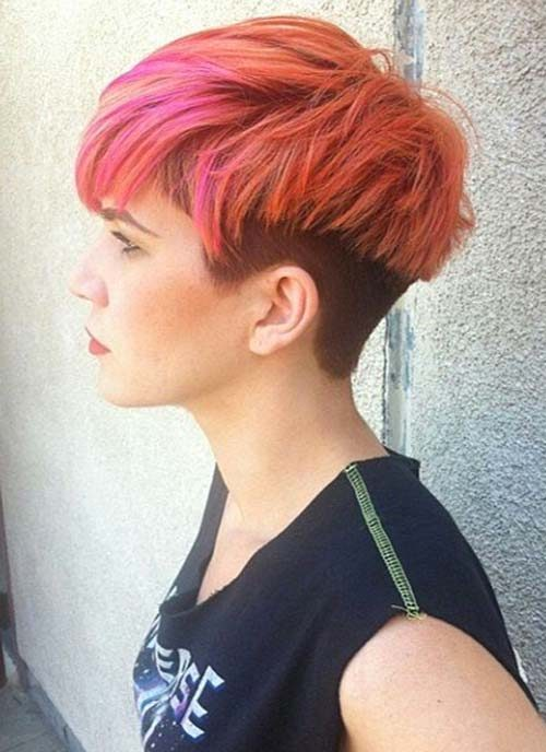 colorful undercut pixie