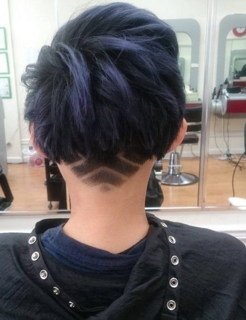 Dark Blue Strands with Undercut