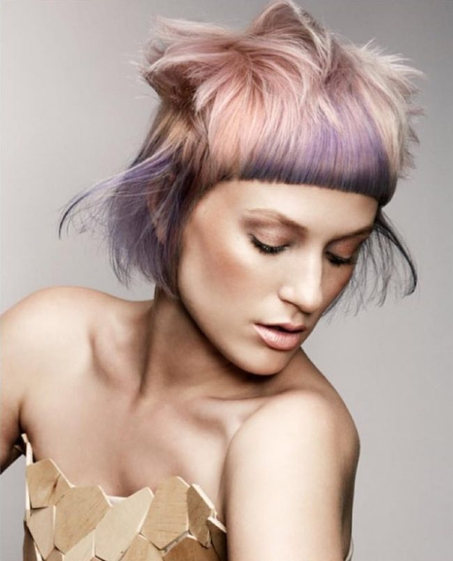 bowl haircut with lavender hair highlights for 2017