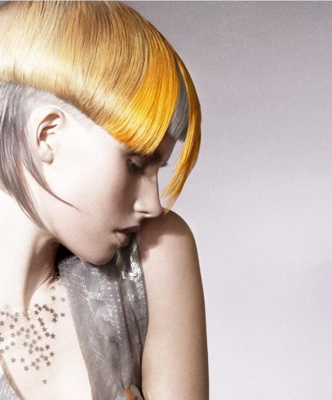 golden bowl haircut with yellow hair highlights