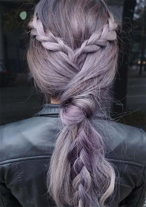 Lilac Grey Braid and Knot
