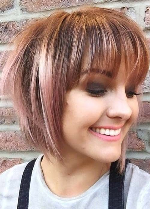 Messy Auburn and Pink Bob