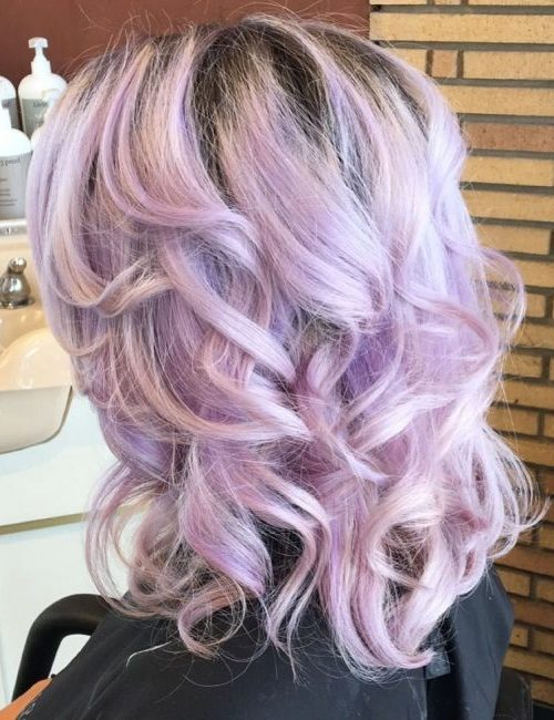 Curly Purple Hair with Dark Roots