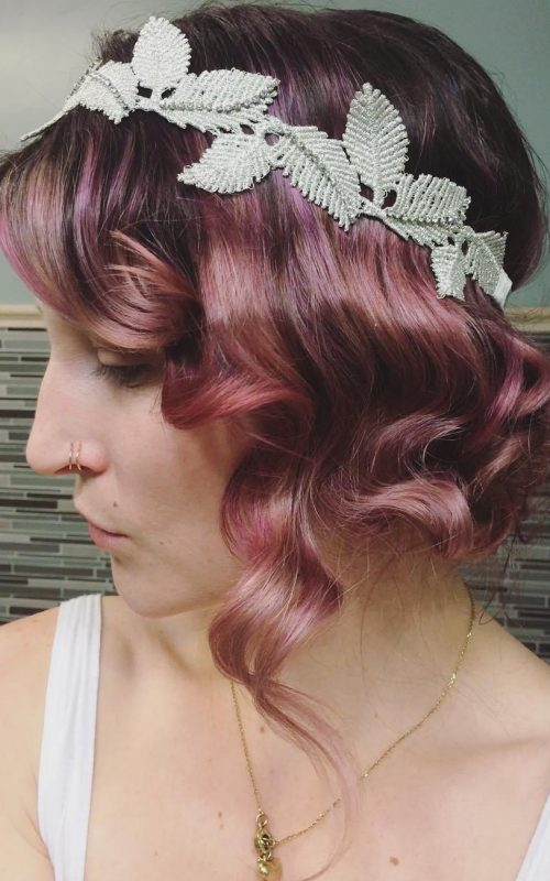 Pink Curly Updo with Headband