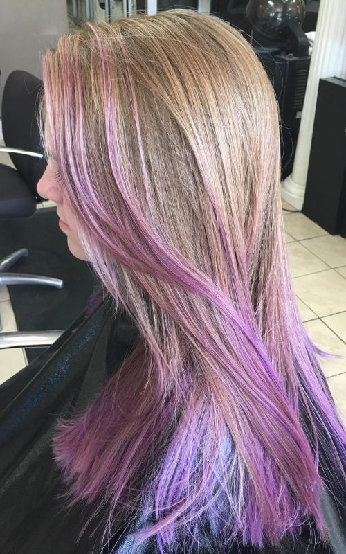 Purple Streaks on Light Brown Hair