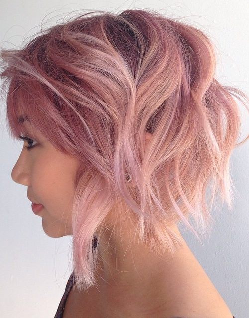 Short Teased Pastel Pink Hair
