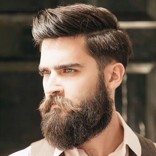 Side Part Hairstyle and Bushy Beard