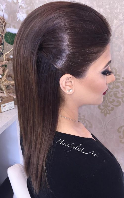 Sleek Straight Half Updo