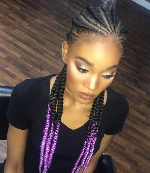 Tight Braids with Purple Tips