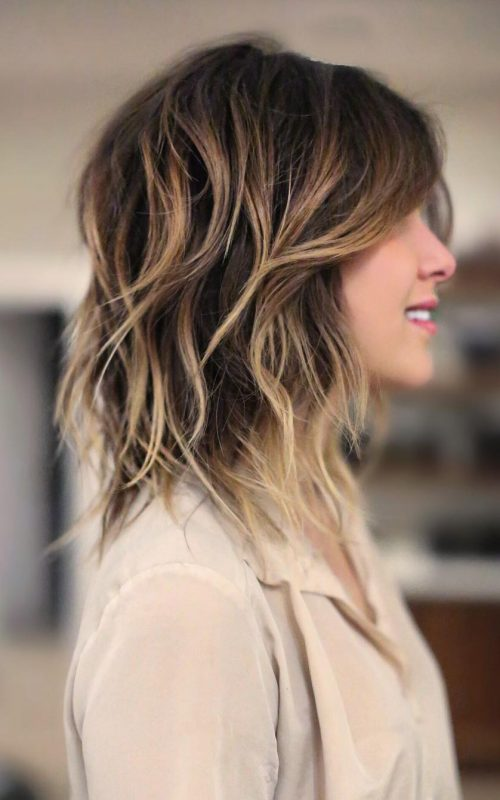 Balayage Shoulder Length Shag