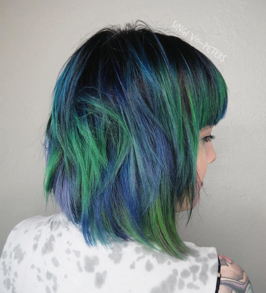 Blue Green Hair with Revealed Roots