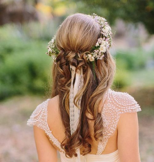 Curly Hairstyle with Flower Headband